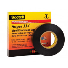 Изолента ПВХ 3M черная 19 мм x 20 м Scotch Super 33+