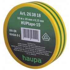 Изолента ПВХ HAUPA желто-зеленая 15 мм x 10 м d=60 мм
